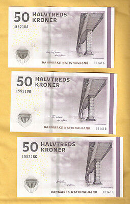3 Denmark 50 Kroner with 3 different Signature Uncirculated #P65