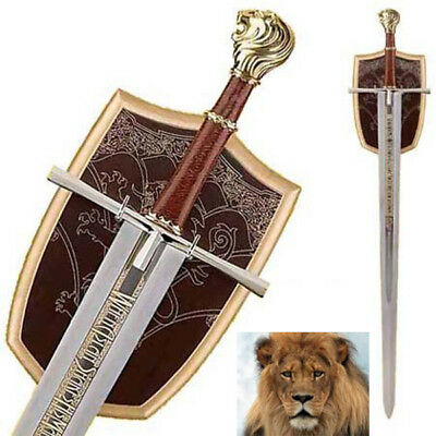 New Sharp Stainless Steel the King of the Lion Narnia Sword Knife with Board