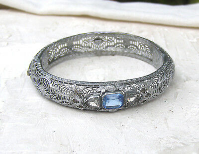 Vintage Art Deco Filigree Rhodium Plated Blue Topaz Glass Hinged Bangle Bracelet
