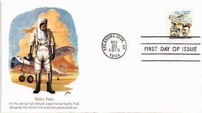 Dr Jim Stamps Us Wiley Post Aviation Pioneer Air Mail Fdc 1979
