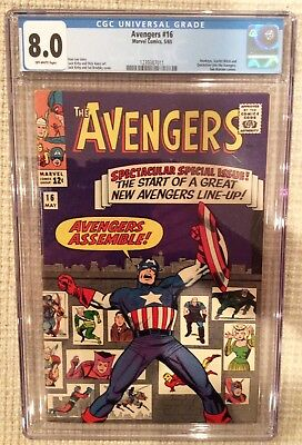 Avengers # 16 cgc 8.0 Stan lee 1st hawkeye, quicksilver scarlet which join Team