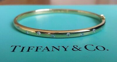 Tiffany & Co 0.22tcw Diamond and Solid 18ct Gold/Platinum Etoile Bangle/Bracelet