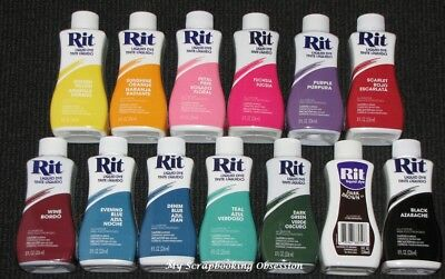 RIT 'LIQUID DYE' Clothes Dye (Choose from 26 Colours) Cotton/Wool 236ml Clothing