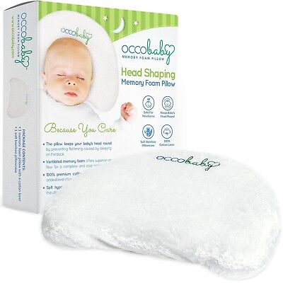 Baby Head Shaping Memory Foam Pillow Cotton Bamboo Pillowcase Infant Newborns