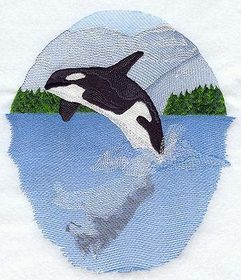 """Whale Wolf Scene, Marine, Nautical, Embroidered Patch 7.3""""x 8.3"""""""