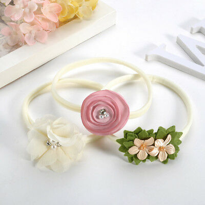 3PCS Kids Girls Toddler Baby Headband Bow Flower Hair Band Accessories Headwear