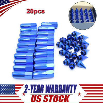 20 x Cap Spiked Extended Tuner 60mm Aluminum Wheels Rims Lug Nuts M12X1.5 Blue