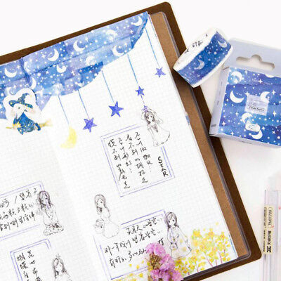 1 Roll Blue Moon Star Washi Tapes Stationery Stickers Scrapbooking Decoration