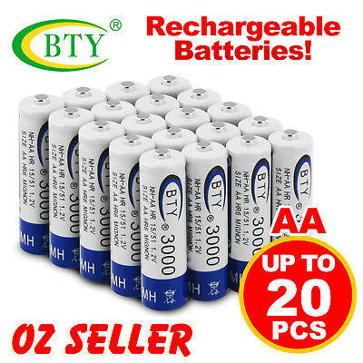 NEW 4-20X BTY AA Rechargeable Battery Recharge Batteries 1.2V 3000mAh Ni-MH OZ