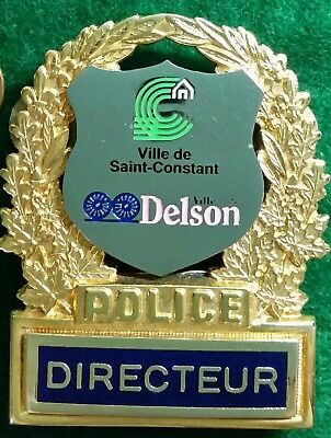 Chief Directeur Police Badge Delson St-Constant Pin Quebec law Canada Obsolete