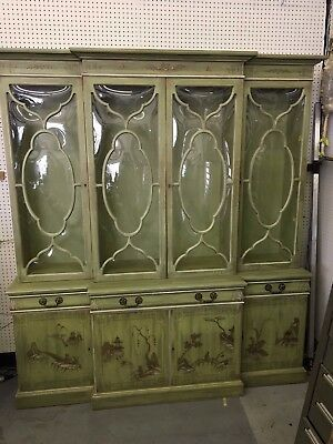 Karges Green and Gold Chinoiserie China Cabinet