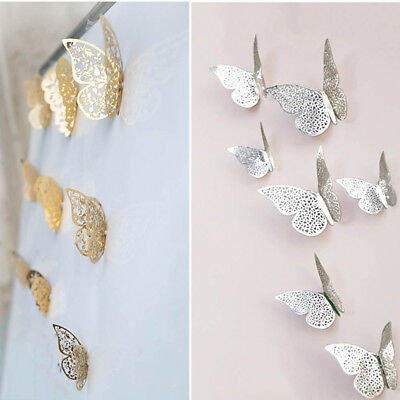 12pcs/set 3D Hollow Metal Texture Butterfly Bedroom Wall TV Wall Stickers