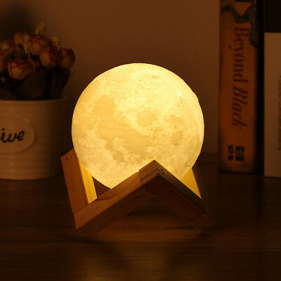 USB 3D Printing Moon Lunar Enchanting Decor LED Night Light Lamp+Wooden Stand