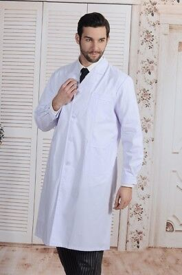 New-Mens-Womens-White-Lab-Coat-Scrub-Medical-Doctor-039-s-Jacket  New-Mens-Wome