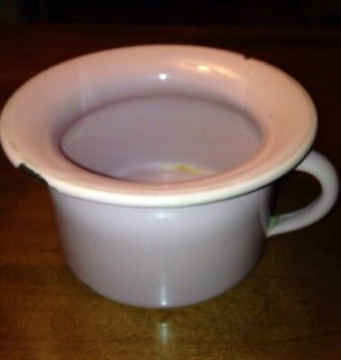 Vintage Small Soft Pink/Mauve  Enamel Enamelware Child's Chamber Pot