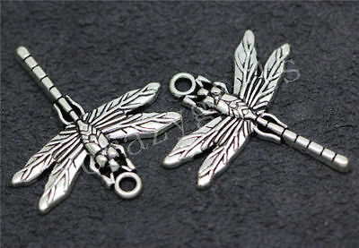 Hot 8pcs Antique Silver Lovely Dragonfly Jewelry Charms Pendant DIY 32x28mm C