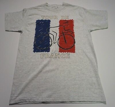 New Tour De France Tshirt Vintage 1990's French Flag on Gray Shirt Size Large