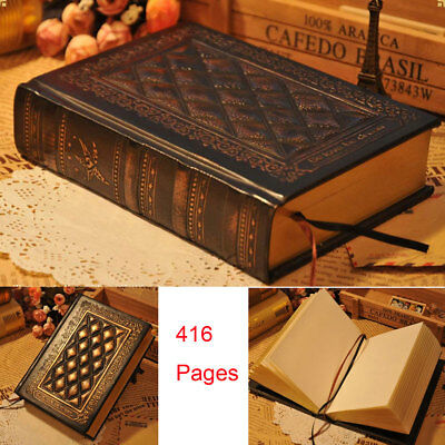 416p Vintage Classic Retro Golden Blank Page Notebook Diary Journal Sketchbook