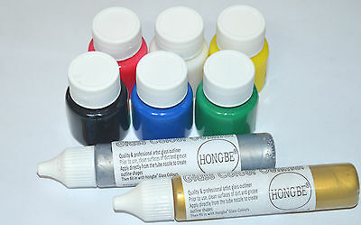 6 X GLASS PAINTS SET Stained Transparent ~Brush ~PLUS GOLD & SILVER Outliners ~