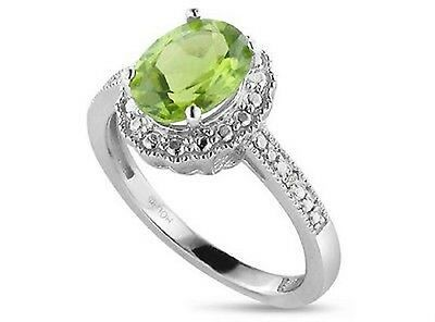 Oval Peridot & Diamond Accent Sterling Silver Halo  Ring( Sz  7)  2.15 Carats