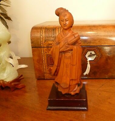 Small vintage Chinese boxwood carving wooden statue figurine