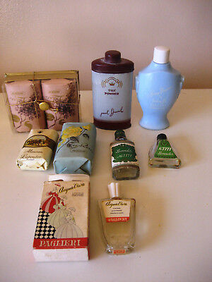 Exciting collection of 8 Vintage Perfume Bottles Soaps Talcum