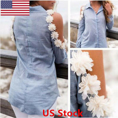 US Casual Women Summer Floral Shirt Blouse Off Shoulder Ruffle Tops Ladies Loose