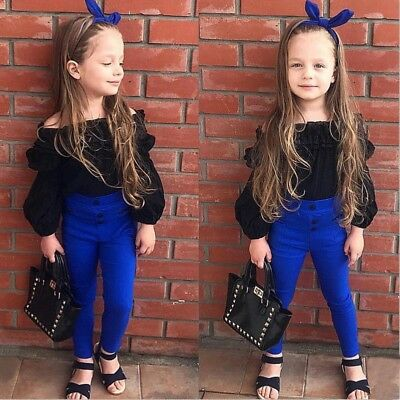 Baby Girl Outfit Top+Long Pants Toddler Long Sleeve Off Shoulder Shirt Suit Comy