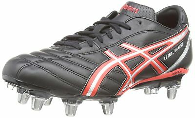 ASICS Lethal Charge Men's Rugby Boots BLACK/RED/SILVER-9023 7 UK