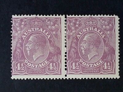 1924- Australia Pair of 4 1/2 d Violet KGV Stamps Second Single Watermark Mint