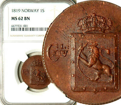 Ngc Ms-62 Norway 1 Skilling Species 1819 (Rare This Nice!)