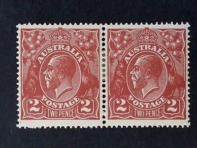 1924- Australia Pair of 2 d Red Brown KGV Stamps Second Single Watermark Mint