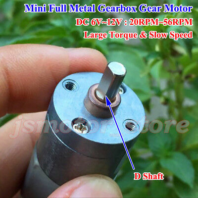 Micro Full Metal Gearbox Gear Motor DC6V-12V 20RPM-56RPM Large Torque Slow Speed