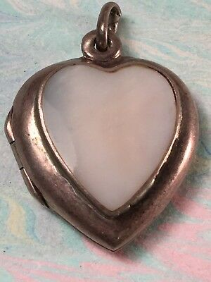 Sterling Silver Shell Heart Shaped Locket 4.7 Hold 2 Pics