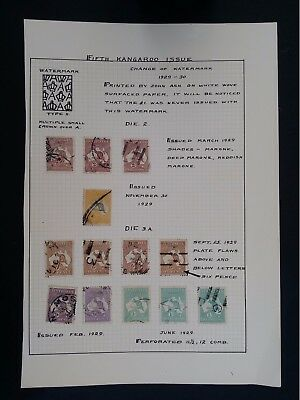 Scarce Lot of 13 x Kangaroo stamps Hinged to page Unchecked to 5/-