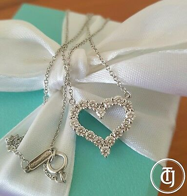 "Tiffany & Co. 0.62tcw Diamond Pinched Heart Pendant/Necklace Platinum 16"" Chain"