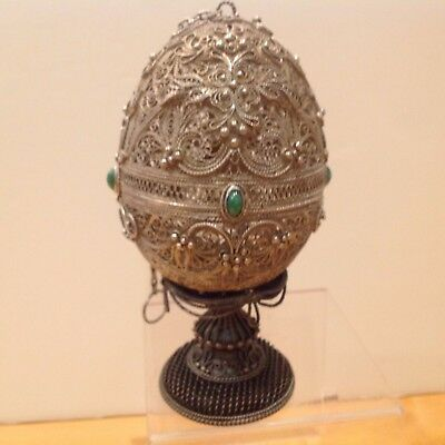 "Russian Mstera Easter Egg Silver Coated Filigree W/ Malachite  6.5"" H"