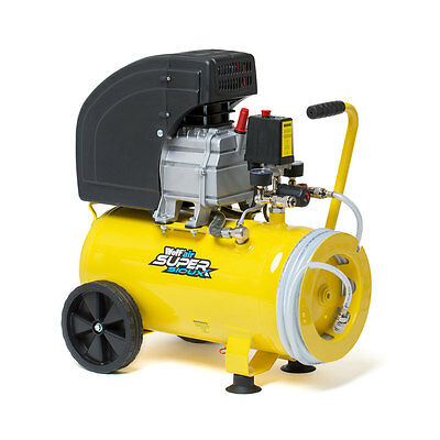Wolf 24L 9.6CFM 10 BAR 150PSI Portable Air Compressor 240v Integrated Hose Reel