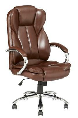 High Back PU Leather Executive Office Desk Task Computer Chair w/Metal Base a