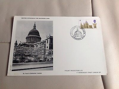 Philart British Cathedrals 1969 Maximum Card First Day Issue St Paul's Cathedral