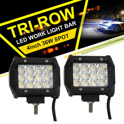 "4"" inch 36W TRI-ROW CREE LED Work Light Bar Driving Pod Spot&Flood Beam Off road"