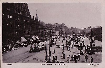 Original Vintage 1908 Real Photo  Postcard, Manchester, Piccadilly.