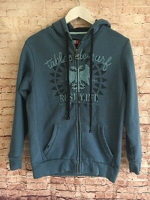 Boys Sz 12 Rusty Zip Front Hoodie Blue Fleece