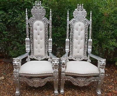 King U0026 Queen Large Wedding Throne Chairs Silver For Hire Only