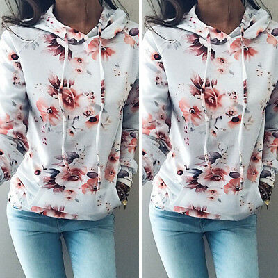 US STOCK Womens Long Sleeve Hoodie Sweatshirt Jumper Hooded Pullover Floral Coat