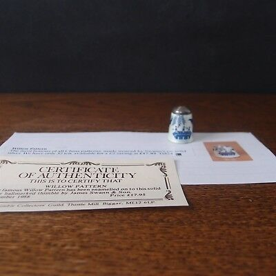 Thimble James Swann Silver & Enamel Willow Pattern - Collectors Guild 1988