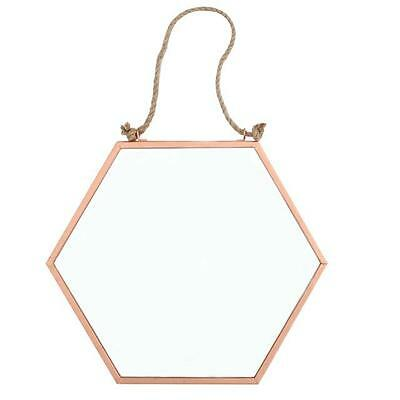 Small Cooper Hexagonal Mirror With Hanging Rope 20Cm X 18Cm Wide Mi_15435*