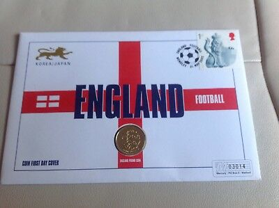 FDC Coin Cover England Football 2002 One Pound Coin Three Lions Mint Unc