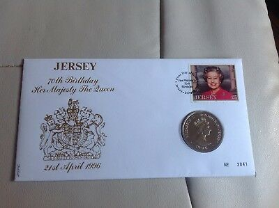 FDC Coin Cover Mint Unc 70th Birthday HM Queen 1996 Jersey £2 Two Pounds
