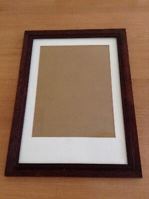 Antique Vintage Australian Wooden Picture Frame - Original With Cream Mount.